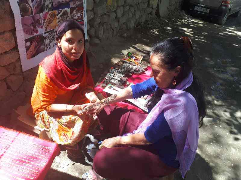 Henna art on a street in Leh, Ladakh