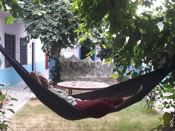 On hammock, Shankar Palace, Pushkar, Rajasthan