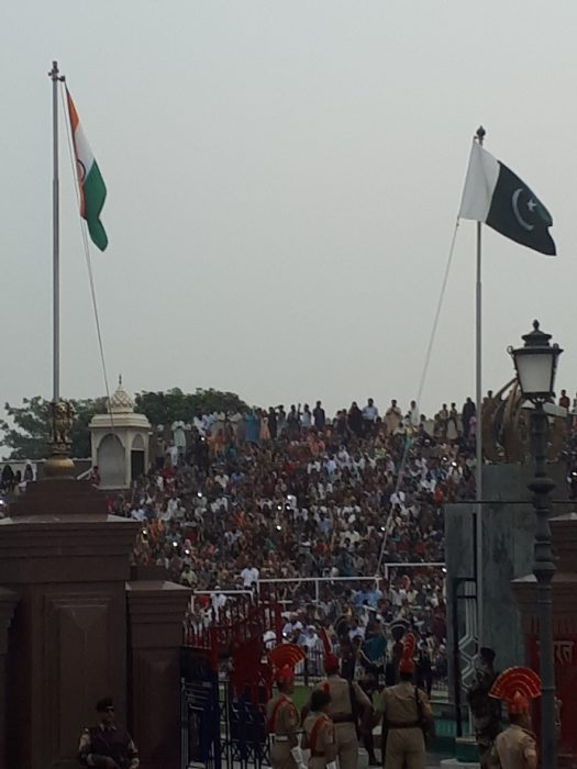 Indian-Pakistani border. The two flags are proudly hanging side by side
