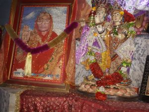 Mata Lal Devi picture at her temple in Amritsar flanked with goddesses