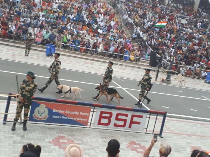 Amritsar border ceremony. Soldiers with dogs scan the aisle.