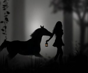 Nocturnal scene with black horse and girl leading