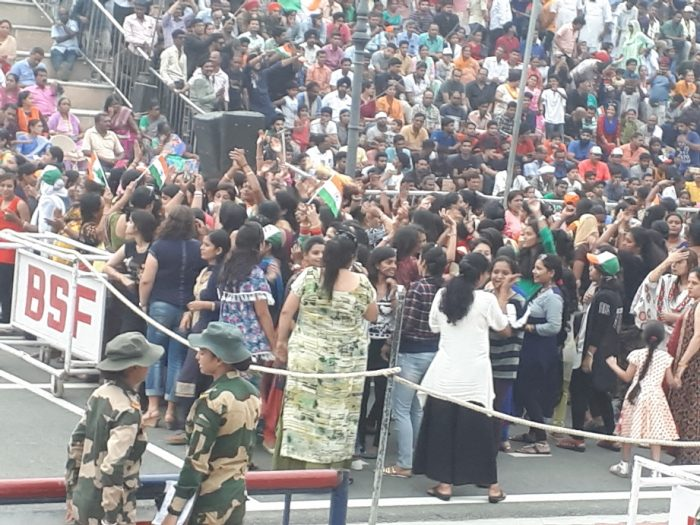 Amritsar border ceremony. Indian ladies taunt their Pakistani counterpartseves, long sleeves, no sleeves