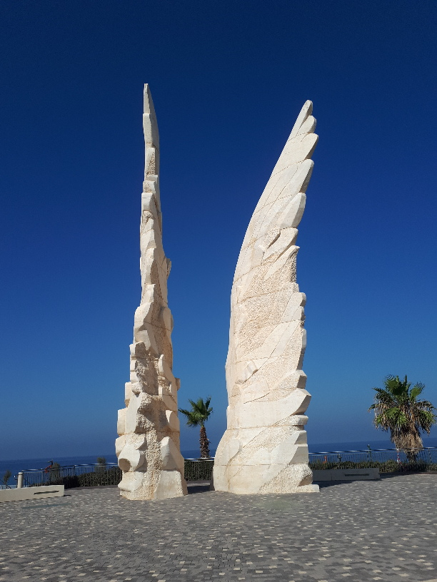 Winged sculpture symbolizing hope and peace , part of Red Army Victory memorial, Netanya Promenade