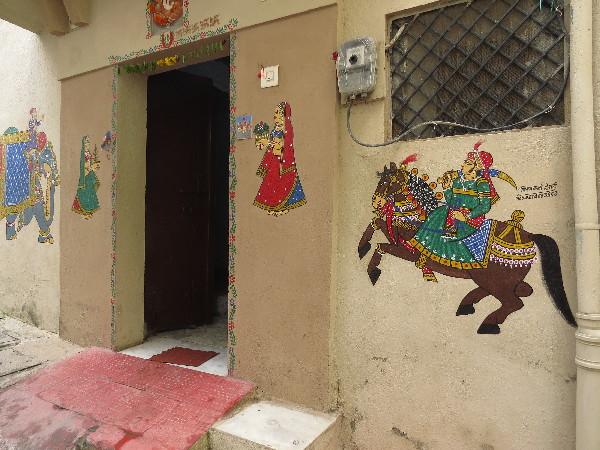 Warrior on horse, wall art, Udiapur, Rajasthan