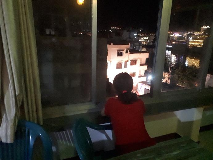 Einat on Nukkad Hotel rooftop, Udaipur, Rajasthan
