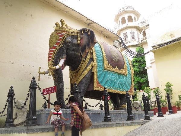 Elephant in yard, udaipur City Palace, Udaipur