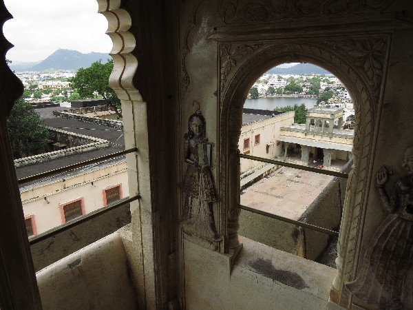 View framed in window. Udaipur City Palace , Rajasthan