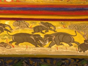 Elepahnt fight. Udaipur city palace, Rajasthan