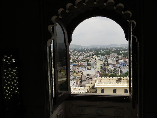 View framed in window. Udaipur City Palace