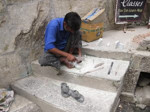 Marble artist working on stairs, Udaipur, Rajasthan