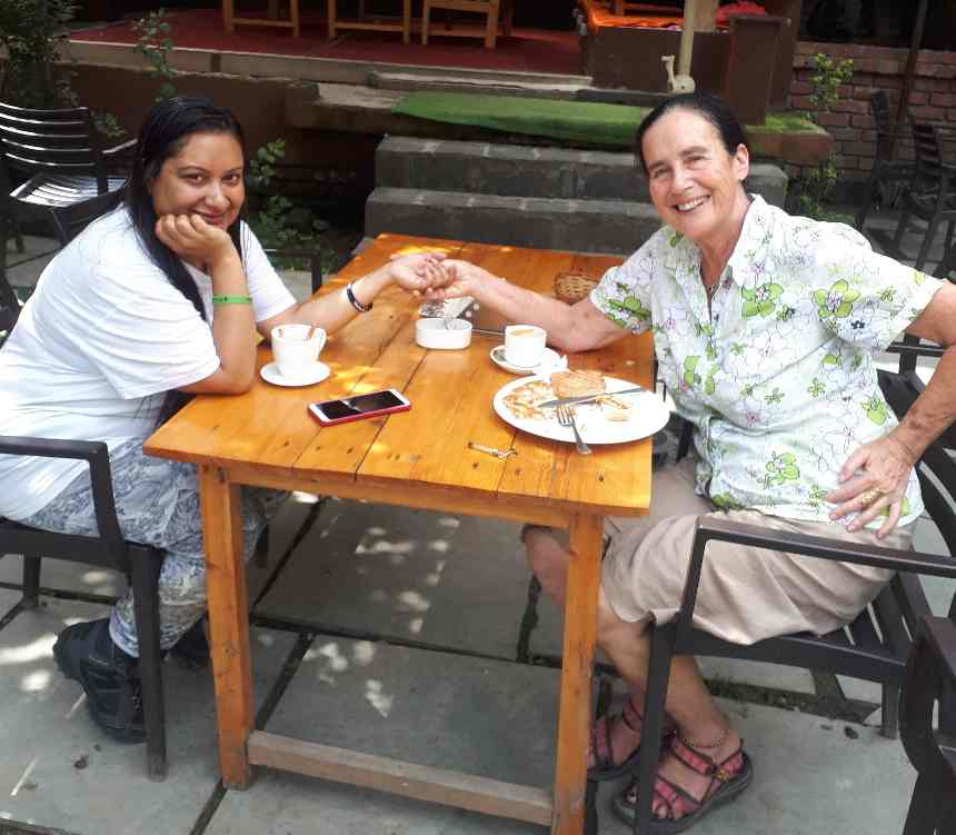 Amrita and I at the Art Cafe, Old Manali, Himachal Pradesh