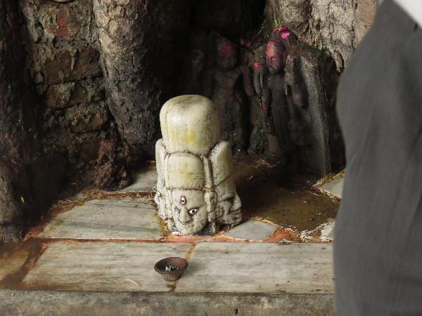 Triple god - Brahma, Vishnu, Mahesh by river, Udaipur, Rajasthan