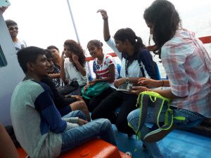 Students from Bangalore on school trip. Boat to Elephanta