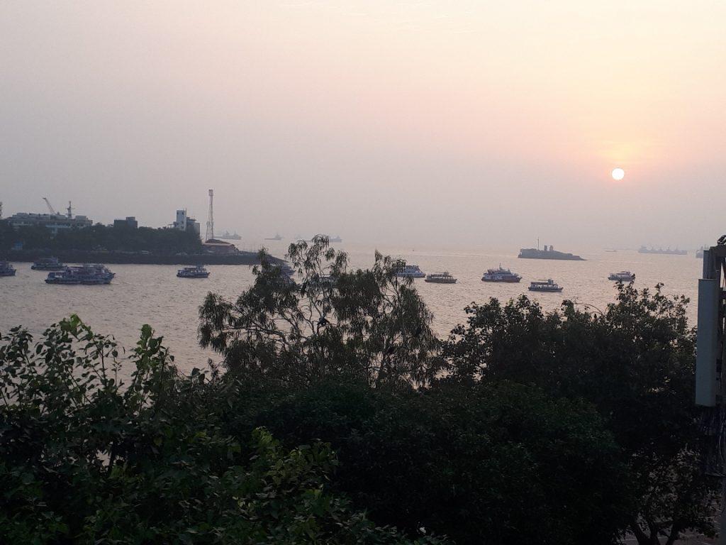 Sunrise over Mumbai Bay view from Sea Shore Hotel