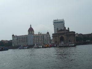 Taj Hotel and Gateway of India viewed from the bay