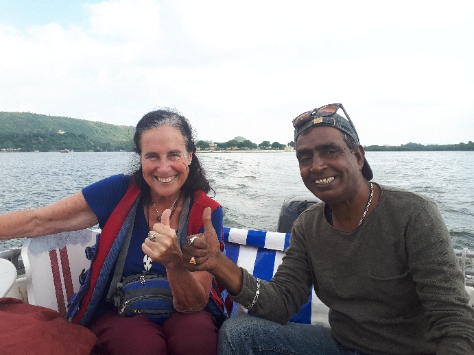 With the Mauritian guy on the Lake Pichola ride, Udaipur, Rajasthan