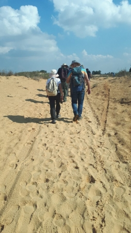 Almagor Hiking Group in sands, Sharon, Israel