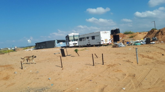 Squatters colony by beach, Hadera, Israel