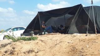 Enjoying the shanti life at squatters colony by the beach, Hadera, Israel