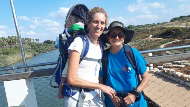 "Almagor brave hikers on Hadera ""River"" bridge, Sharon, israel"