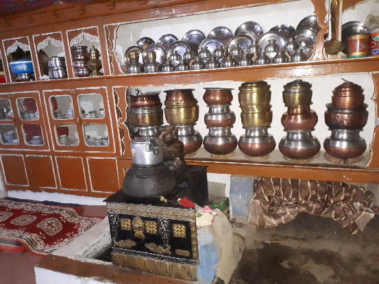 Guest kitchen and dining room, Rinchen's home, Likir Ladakh