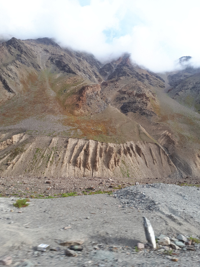 Beautiful erosive formations by Indus iver on wary from Jispa to Leh