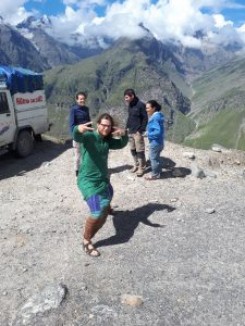 Bram playing silly and the gang on the road from Manali to Leh
