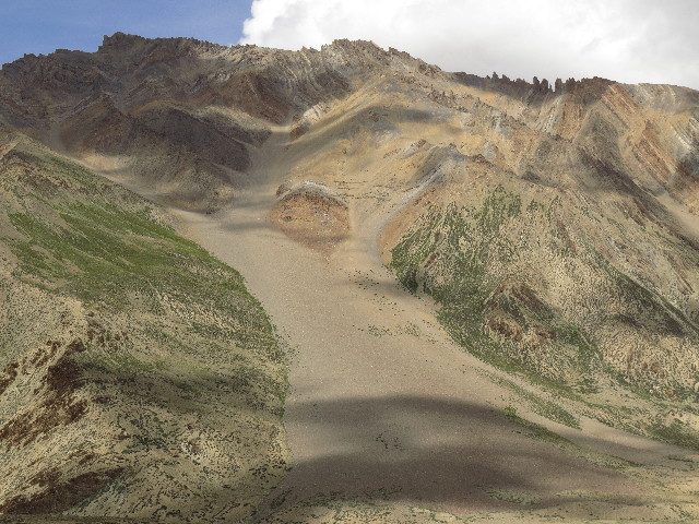 Magnificent erosion fanon road from Jispa to Leh