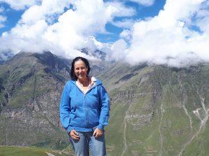 Myself posing agains snowy Himalayan peaks. Northern Himachal Pradesh