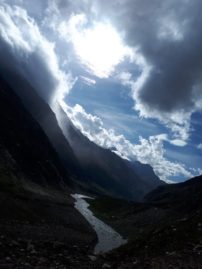 Bhaga River with evening clouds. Himachal Pradesh