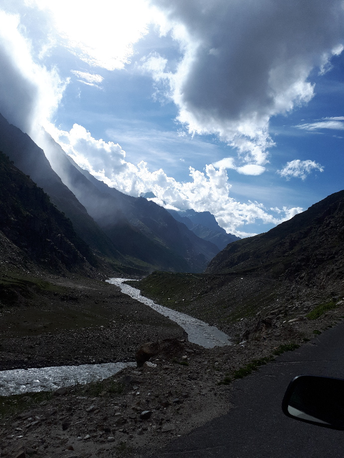 Bhaga River with evening clouds