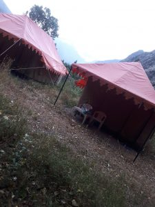 Jispa tenting accomodation on road from Manali to Leh, Himachal Pradesh