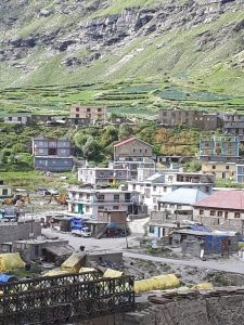 Buddhist village in mountain valley on road from Manali to Leh, Himachal Pradesh