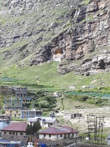 Buddhist village nestled among mountains on road from Manali to Leh, Himachal Pradesh