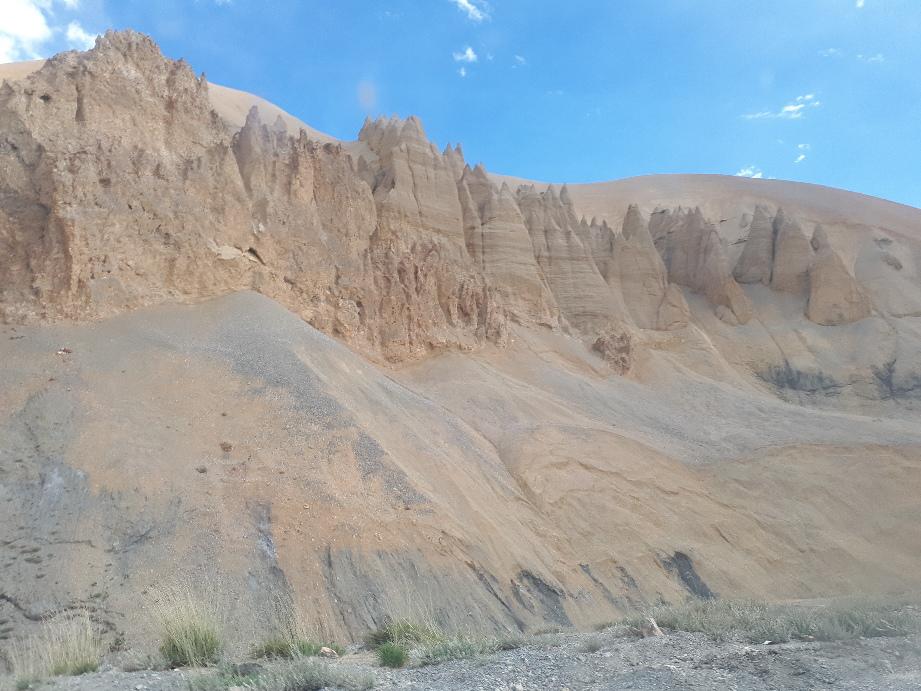 Erosion of primeval rocks on road from Jispa to Leh