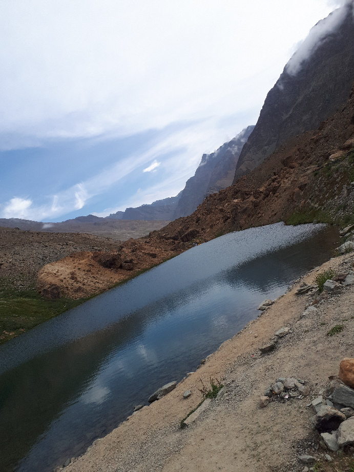 Pristine lake view on border between Himachal and Ladakh