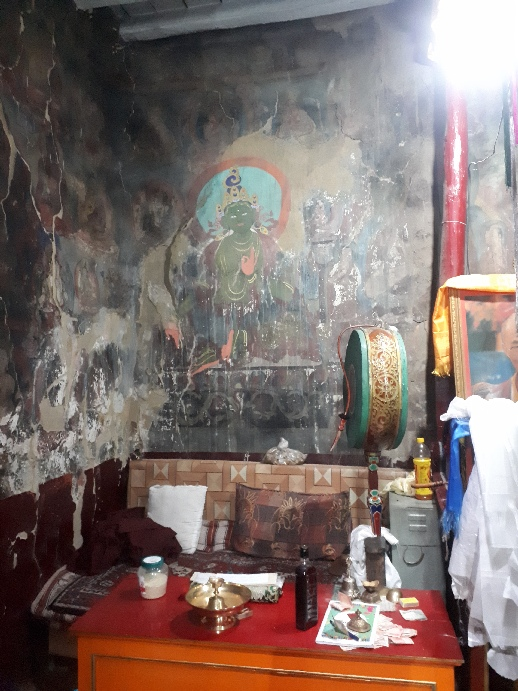Ancient Buddhist figures and ritual artefacts, Namgyal Tsemo Monastery Leh