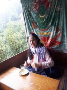 Having herbal healing tea on way to vashisht falls