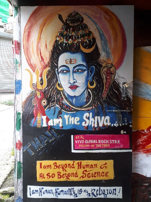 Shiva is beyond human and beyond science. Mural in Old Manali , HImachal Pradesh