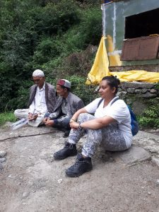 On walk to river. Sitting at viewpoint with the locals. Manali Falls