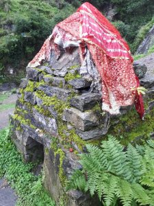 Shrouded shrine at Vashisht waterfalls, Himachal Pradesh