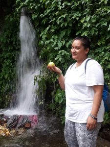 Amrita and the forbidden apple, by Manali's waterfalls.