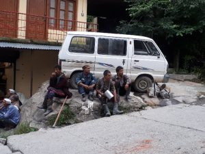 Workers resting after a day's work, Manali, Himchal Pradesh