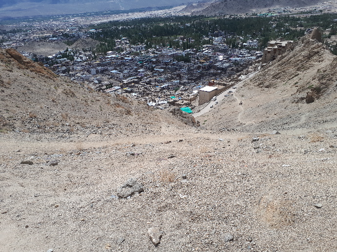 Leh viewed from trail to Mamgyal Tsemo Monastery