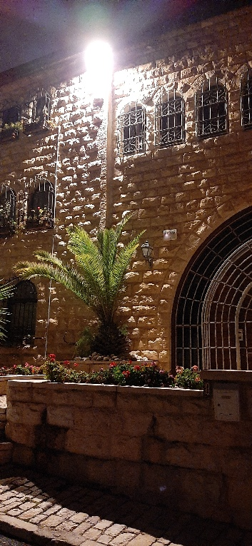 House front with street light, Yemin Moshe, Jerusalem