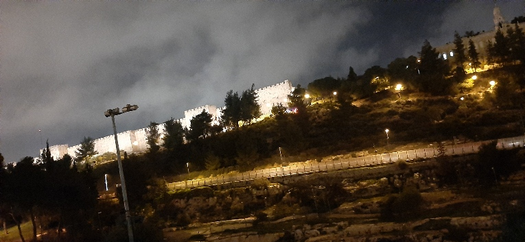 jerusalem City Wall and Mount Zion viewed from Yemin Moshe