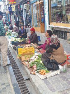 Ladhaki women selling fruit and veggies in Main Bazaar, Leh