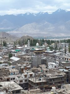 Mosque, city and mountains, Leh