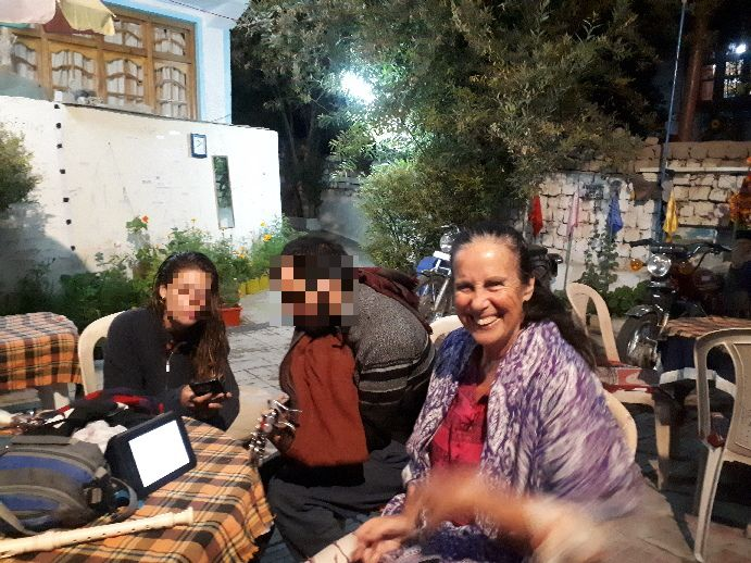 With Israelis at Ree Yul courtyard. Leh, Ladakh